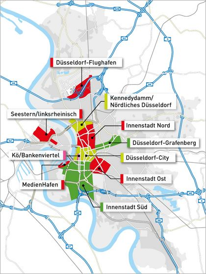 Map of the office locations in Düsseldorf