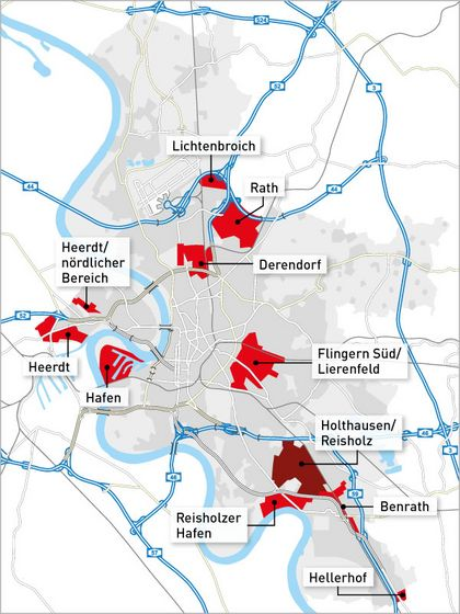 Map of the Industrial locations in Düsseldorf
