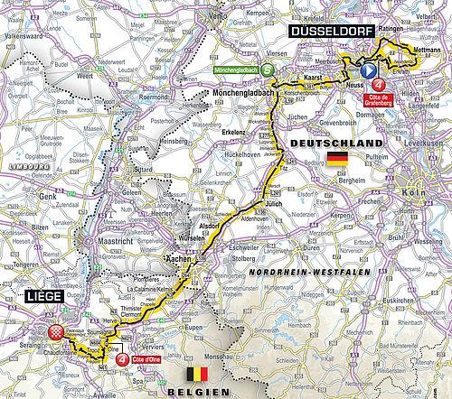 Geplanter Streckenverlauf Der 1 Und 2 Etappe Der Tour De France